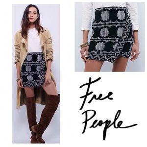 Free People Black & White Blanket Sweater Skirt